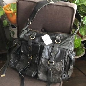 CYNTHIA ROWLEY LEATHER BLACK LARGE BAG